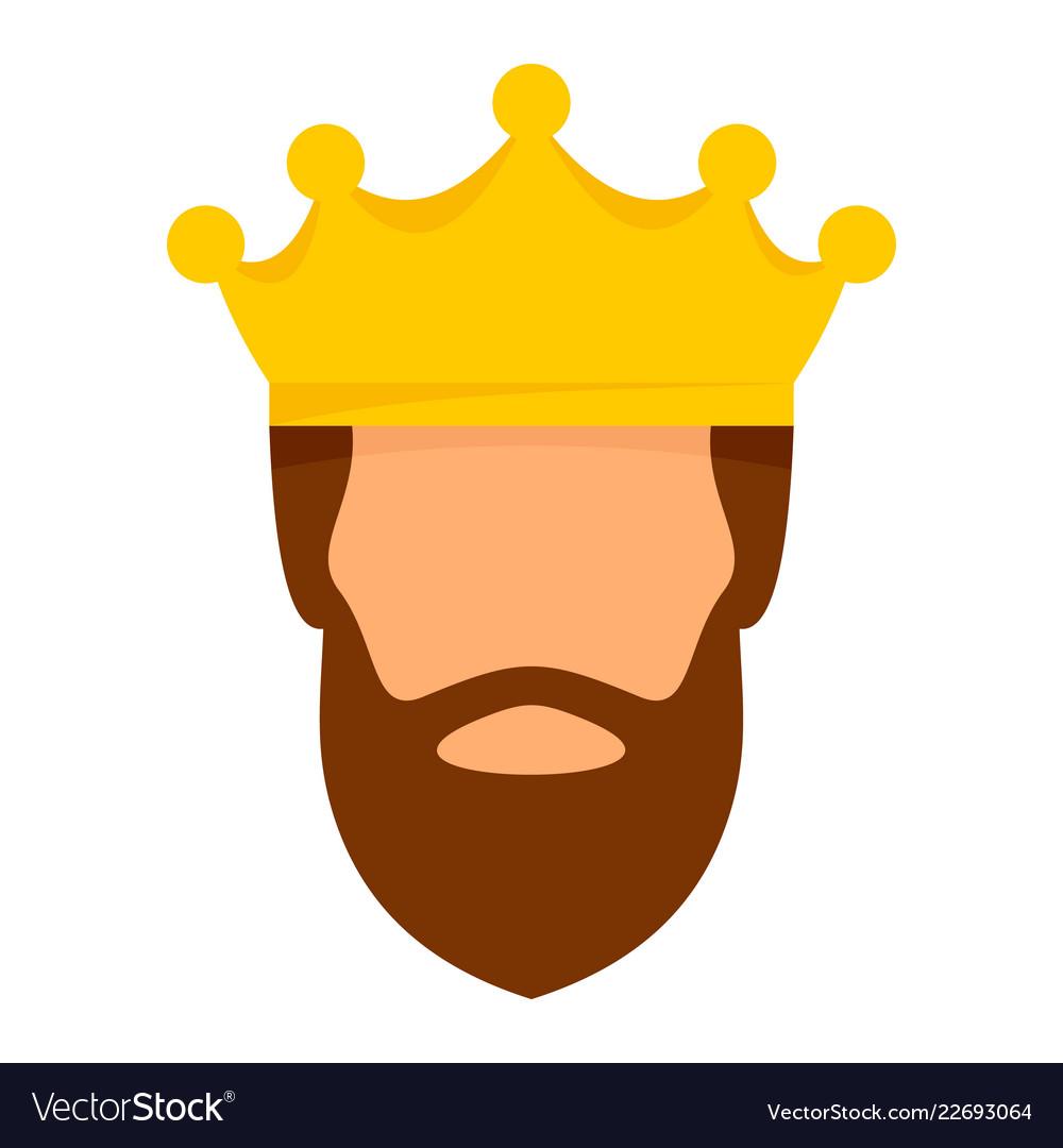 Crown king icon flat style