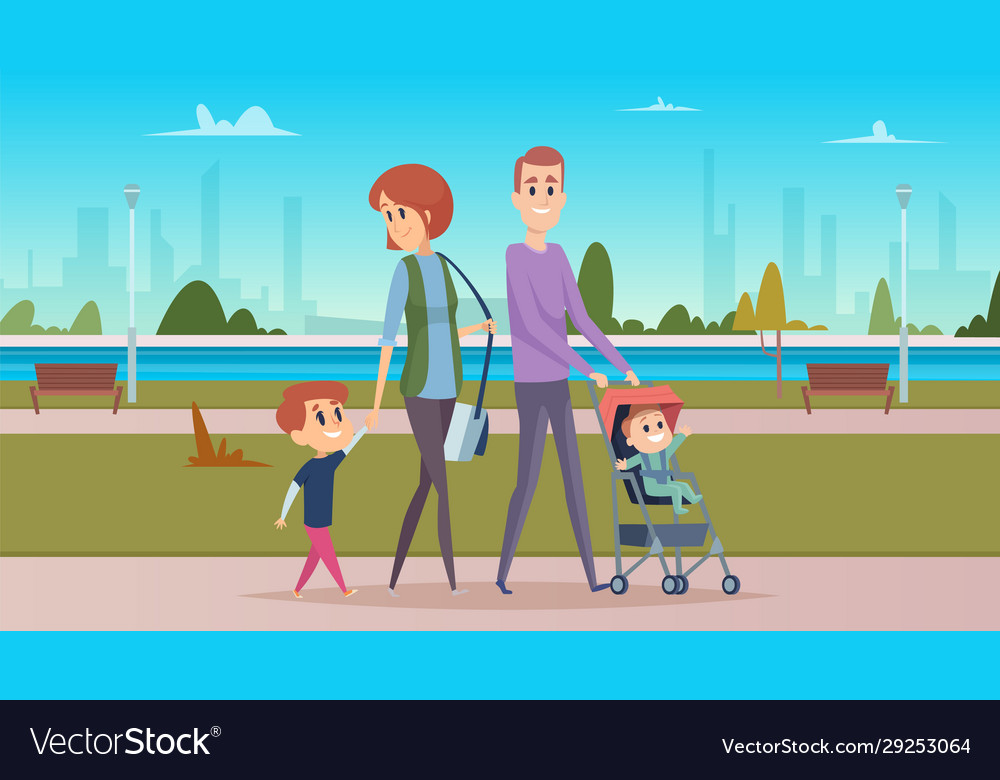 Family walk in city park happy parenthood cute
