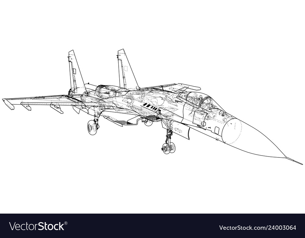 Fighter jet wireframe concept created