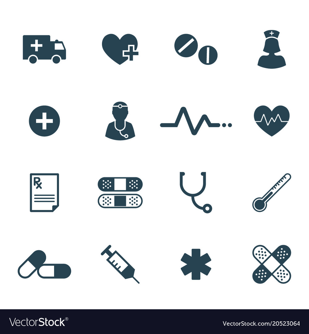 Flat medical and pharmaceutical icon set