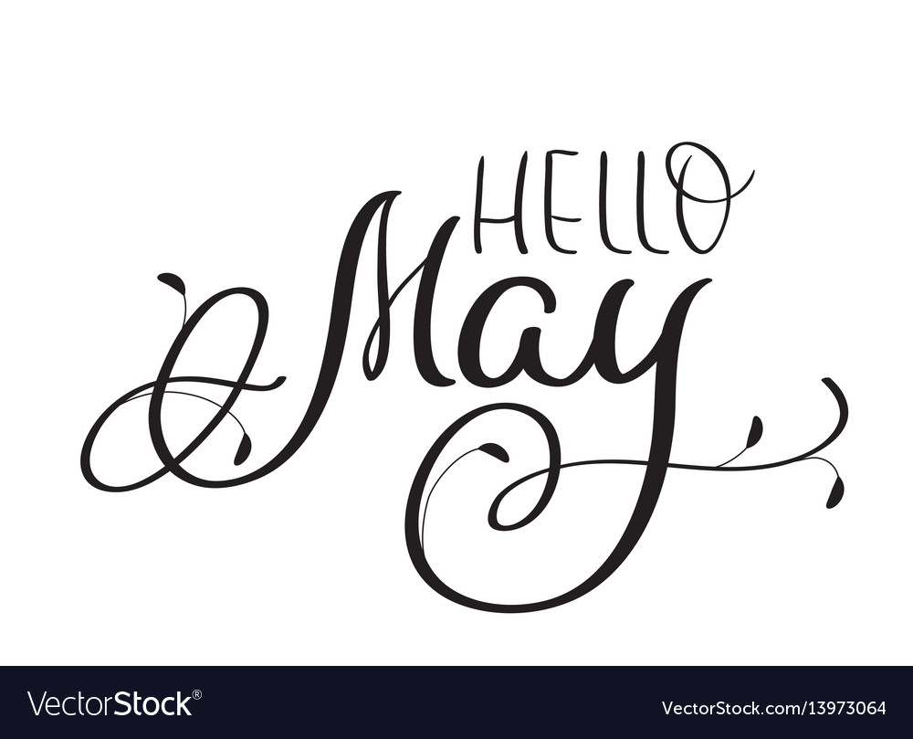 Hello may text on white background hand drawn