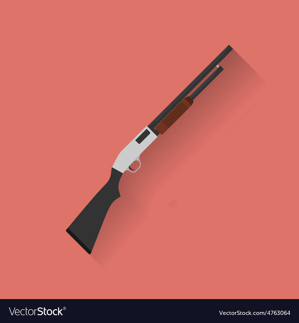Icon of police cop rifle shot gun Flat style