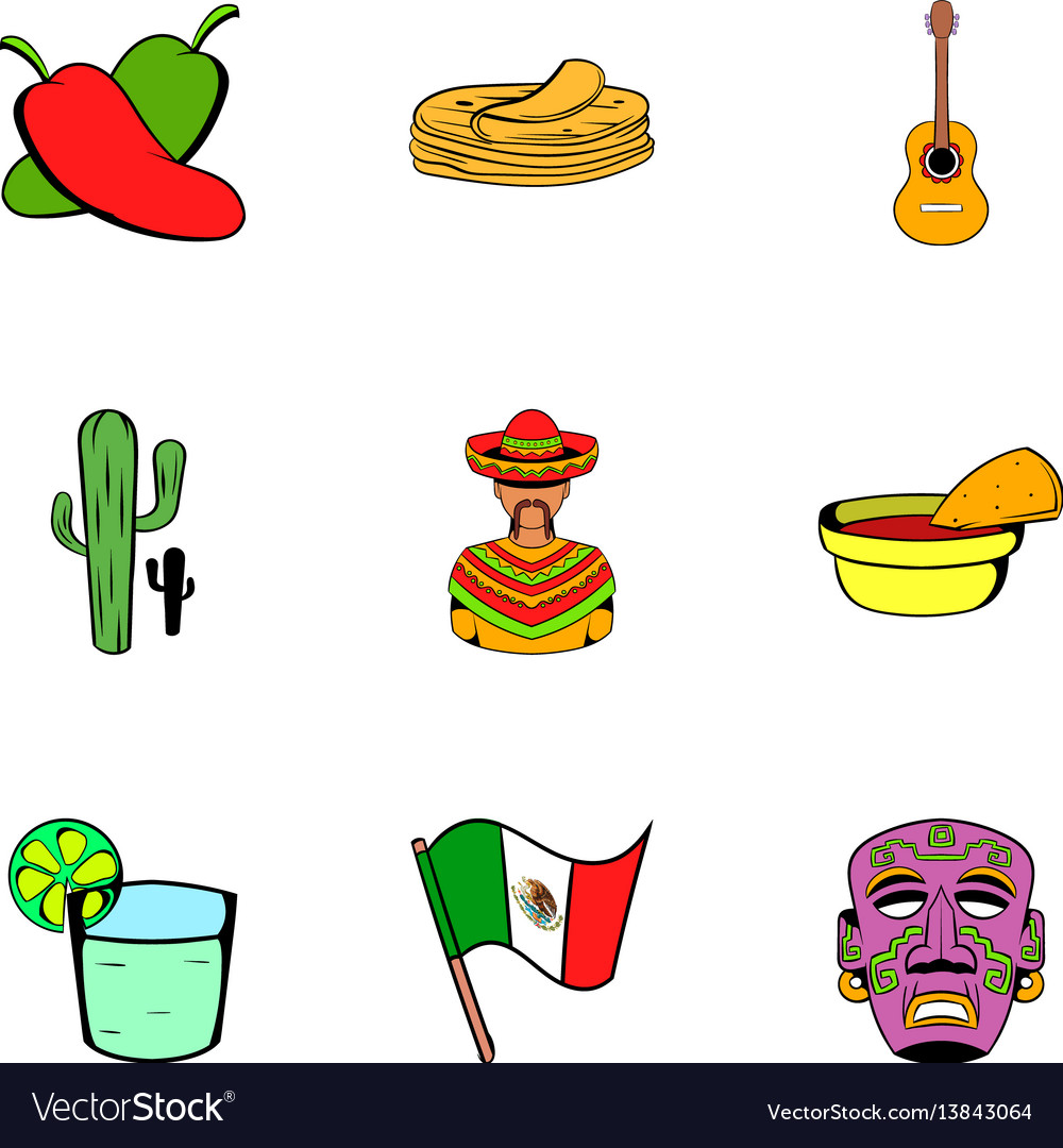 Mexican tradition icons set cartoon style