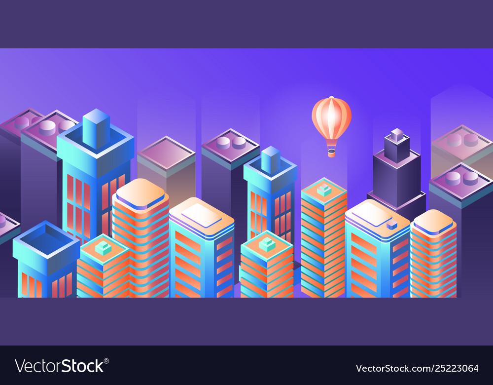 Night city panorama modern city night isometry