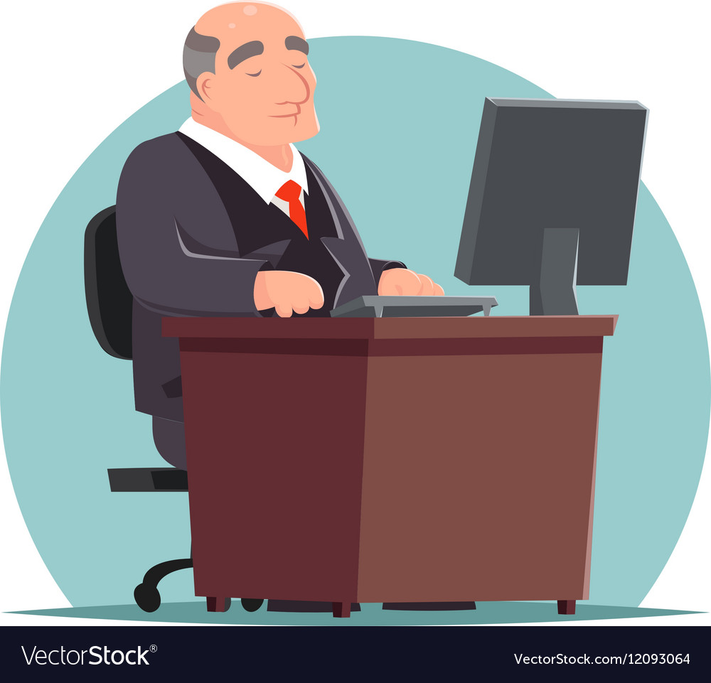 Old Adult Businessman Work Computer Table vector image