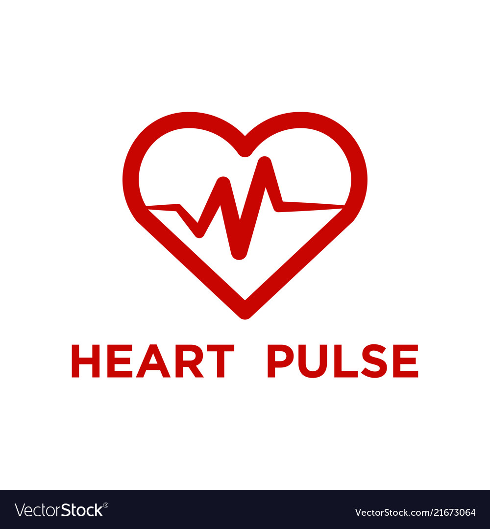 Red heart pulse logo template