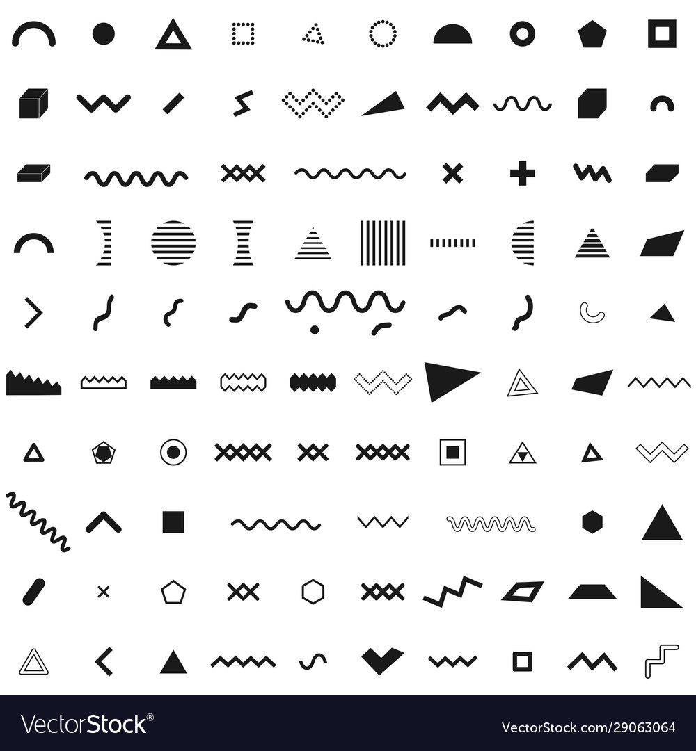 Set geometric retro memphis style black