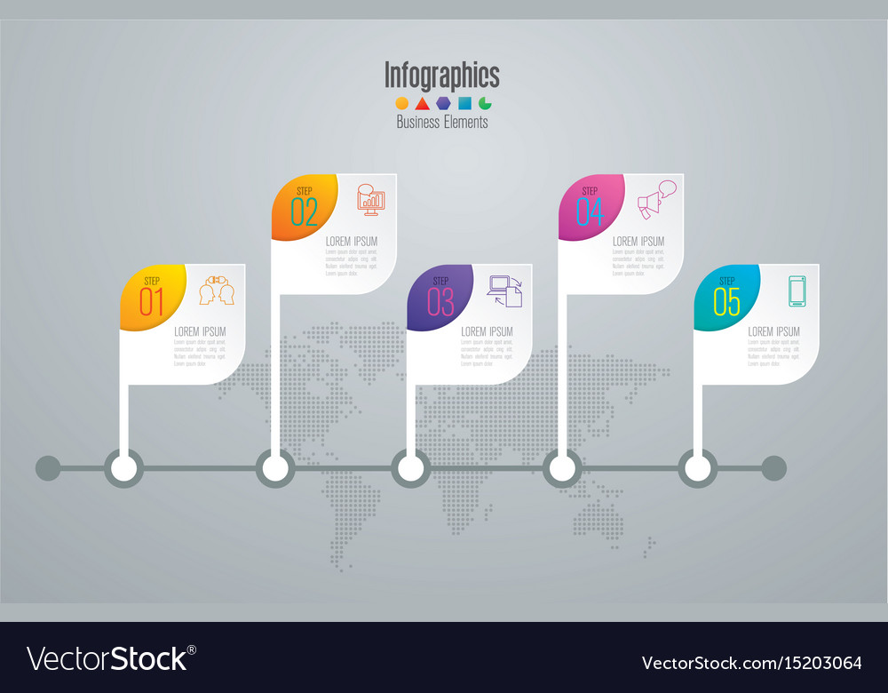 Timeline infographics design with 5 options