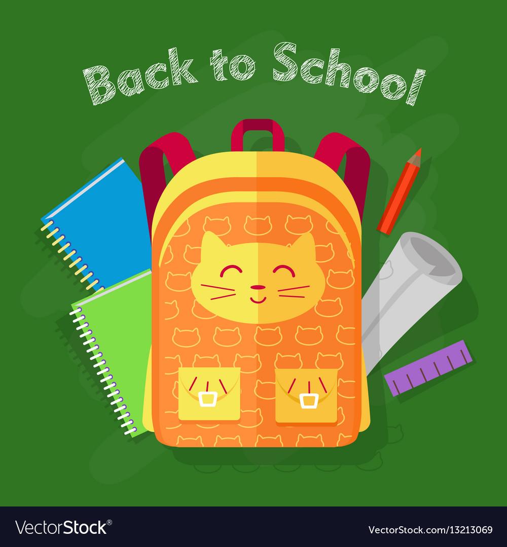 Back to school orange bag on green background