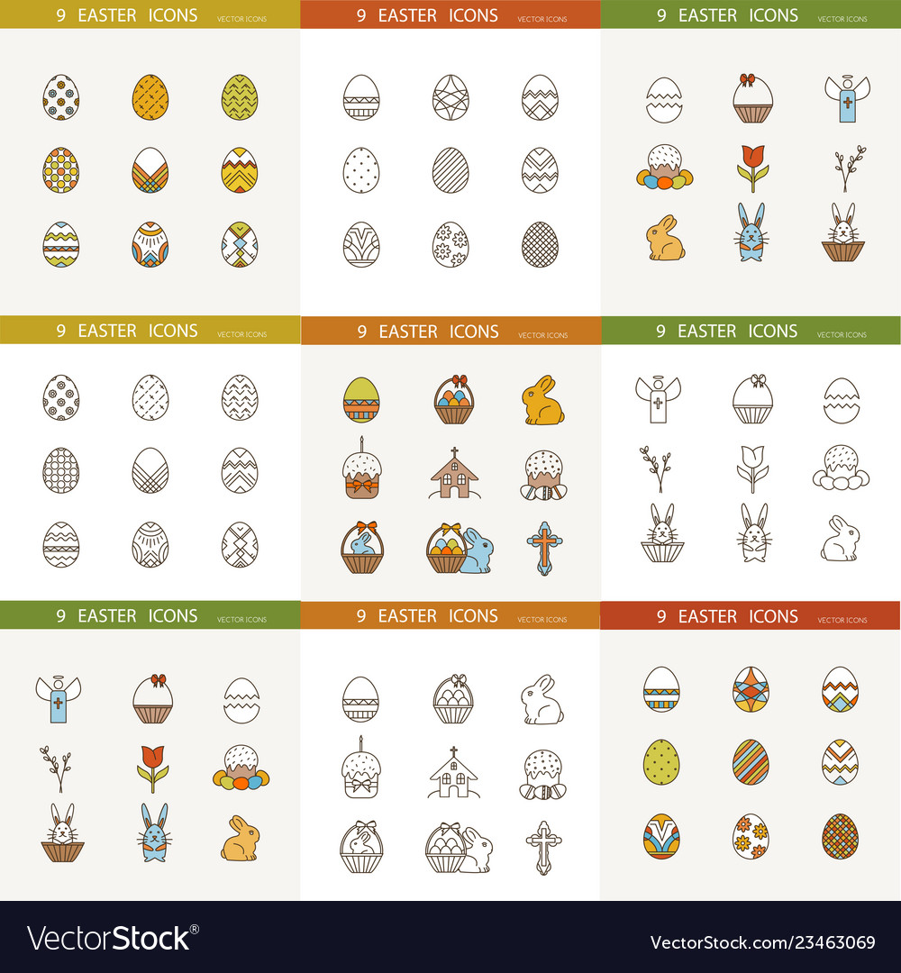 Collection of cute easter icons