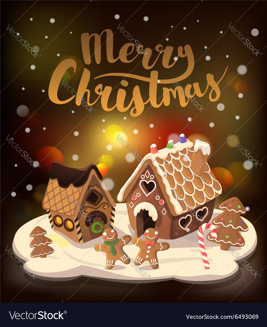Christmas Gingerbread House Background.Cristmas Background With Gingerbread Houses