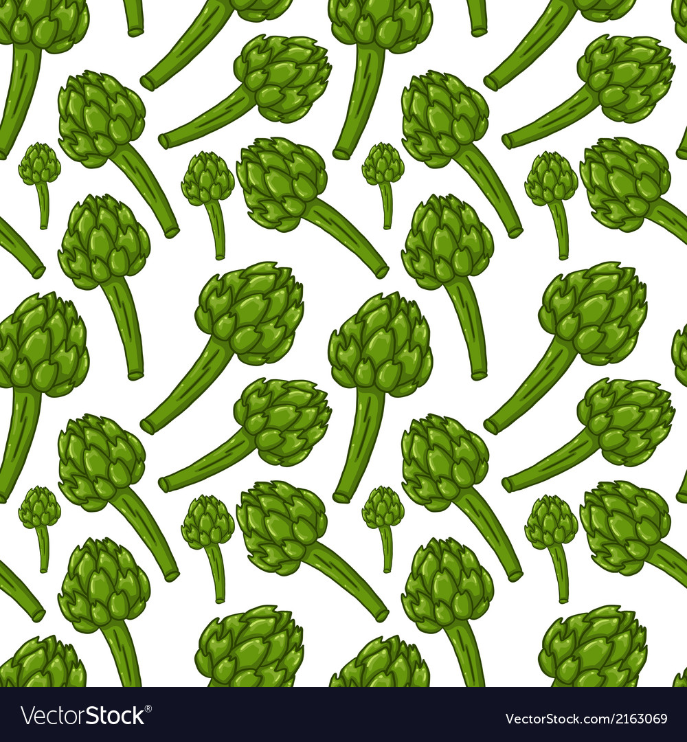 Cute seamless hand drawn artichoke background