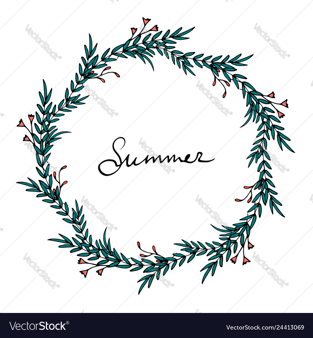 Elegant summer wreath with green leaves