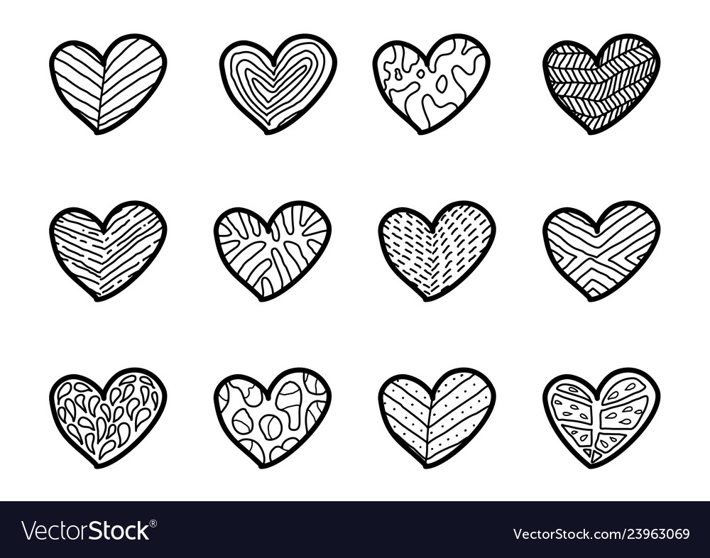 Hand drawn hearts on white background