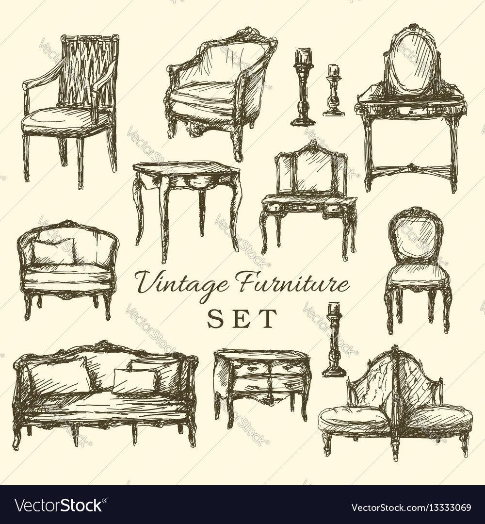 Hand Drawn Vintage Furniture Set Royalty Free Vector Image