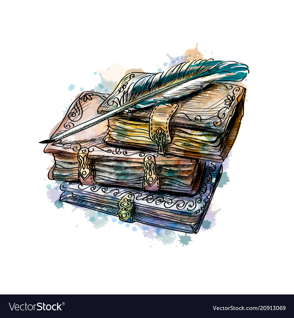 Old books stack and pen vector image