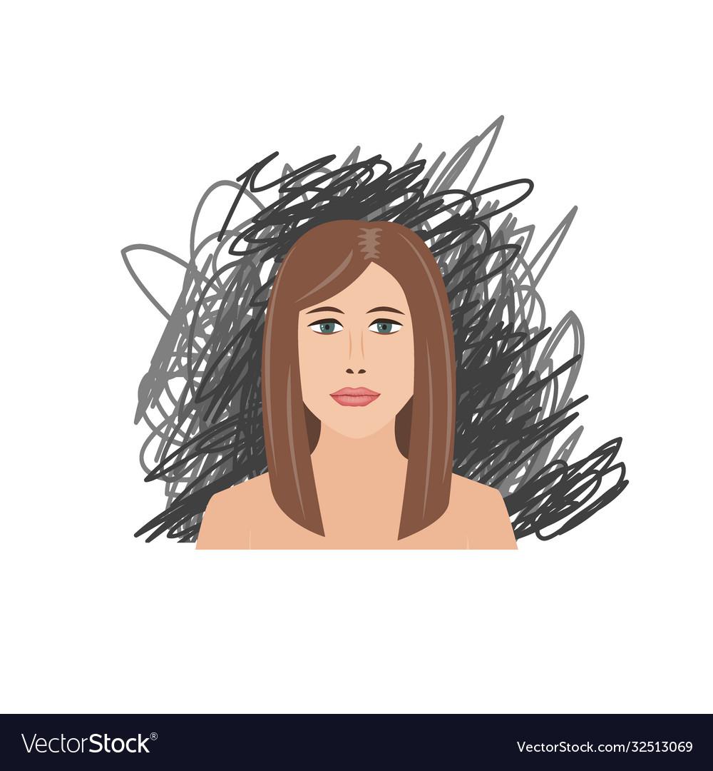 Scared and depressed girl on black scrawl
