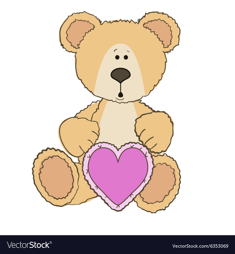 Teddy Bear is sitting with heart