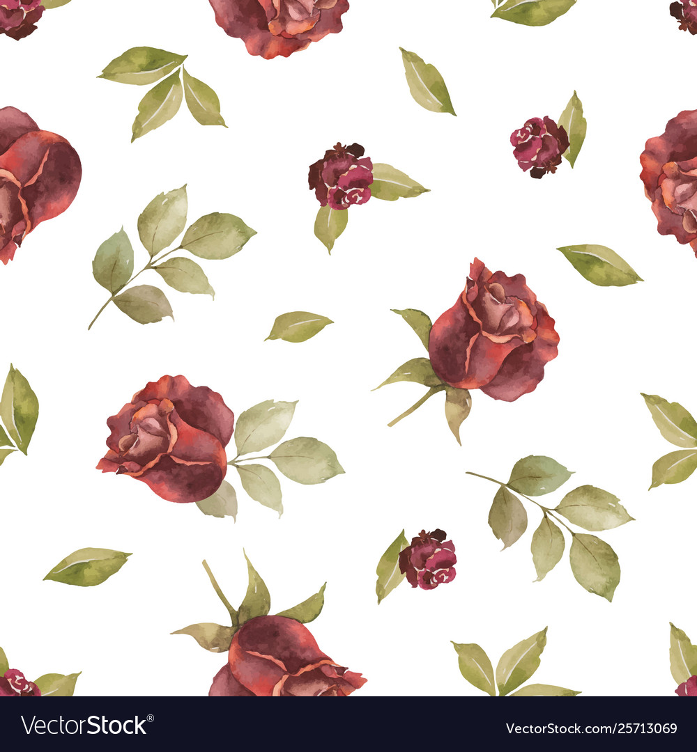 Watercolor autumn seamless pattern with