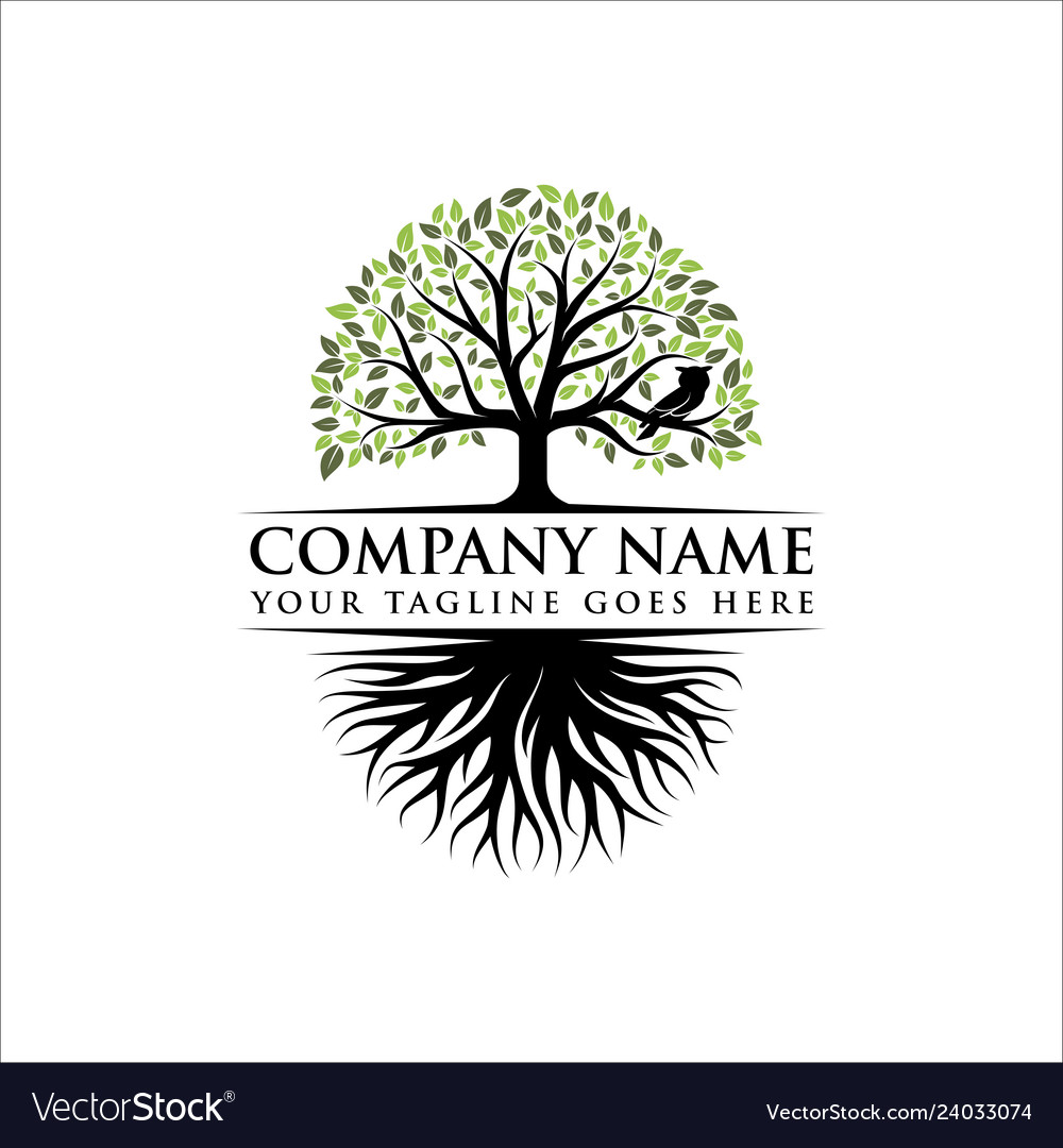 Abstract vibrant tree logo design root