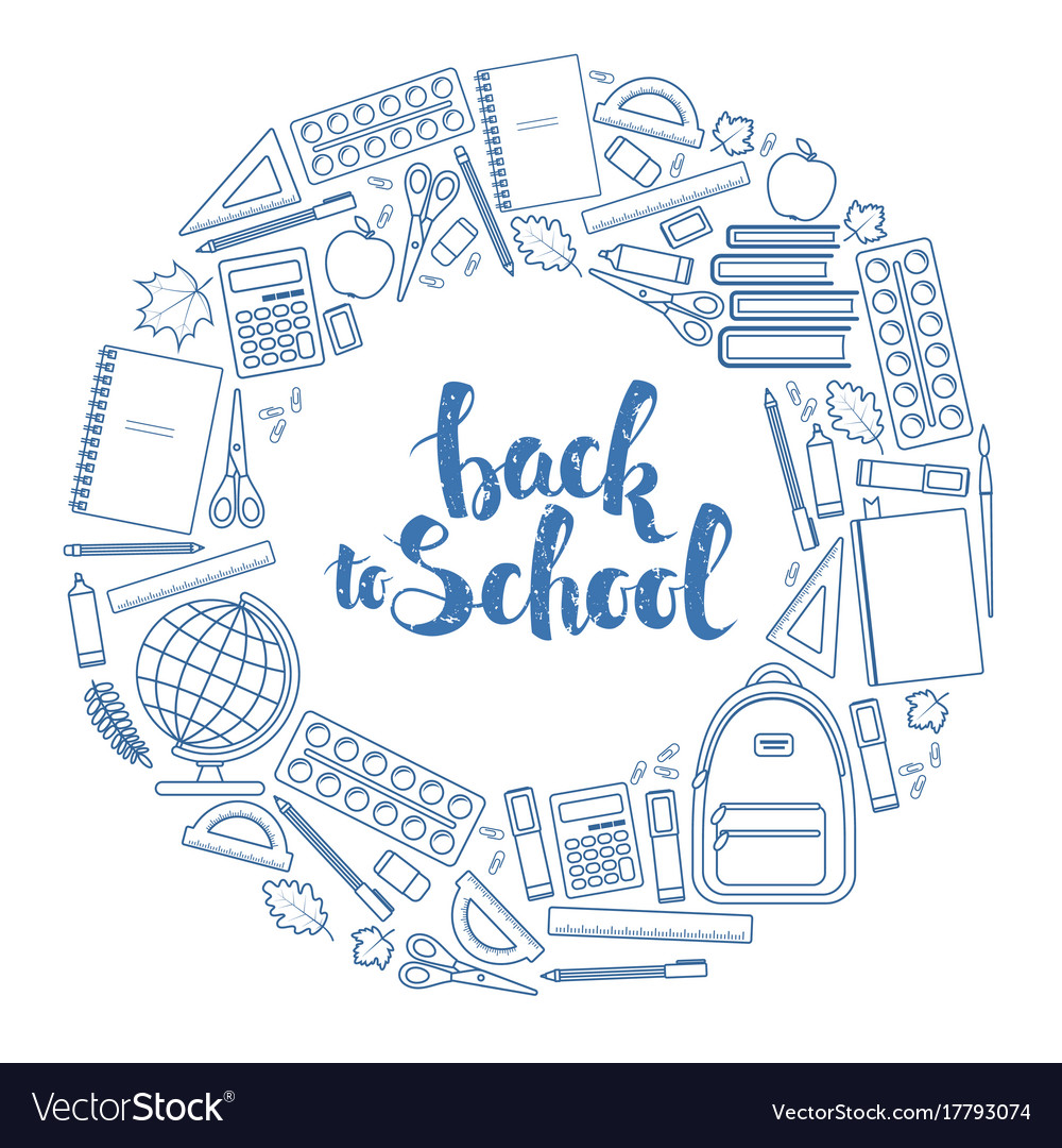 Back to school circle shape template Royalty Free Vector
