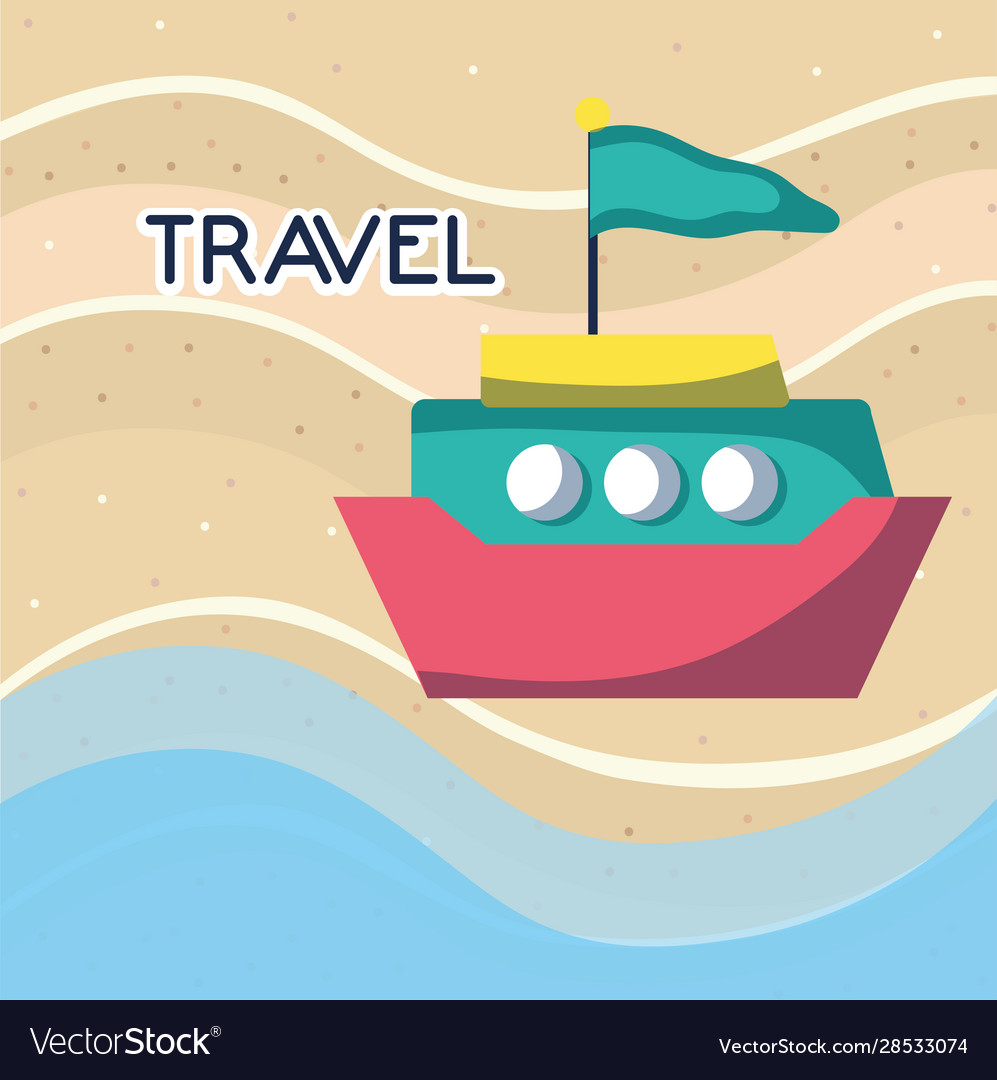 Beach sea boat with flag tourist vacation travel