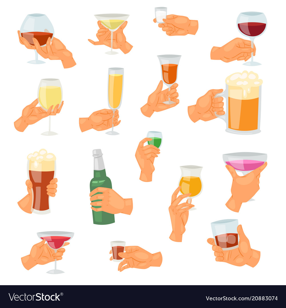 Beverage in hand drinking alcoholic