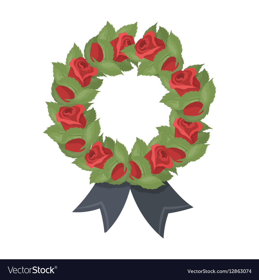 Funeral wreath icon in cartoon style isolated on