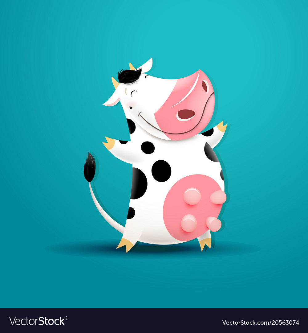 Funny smiling cow