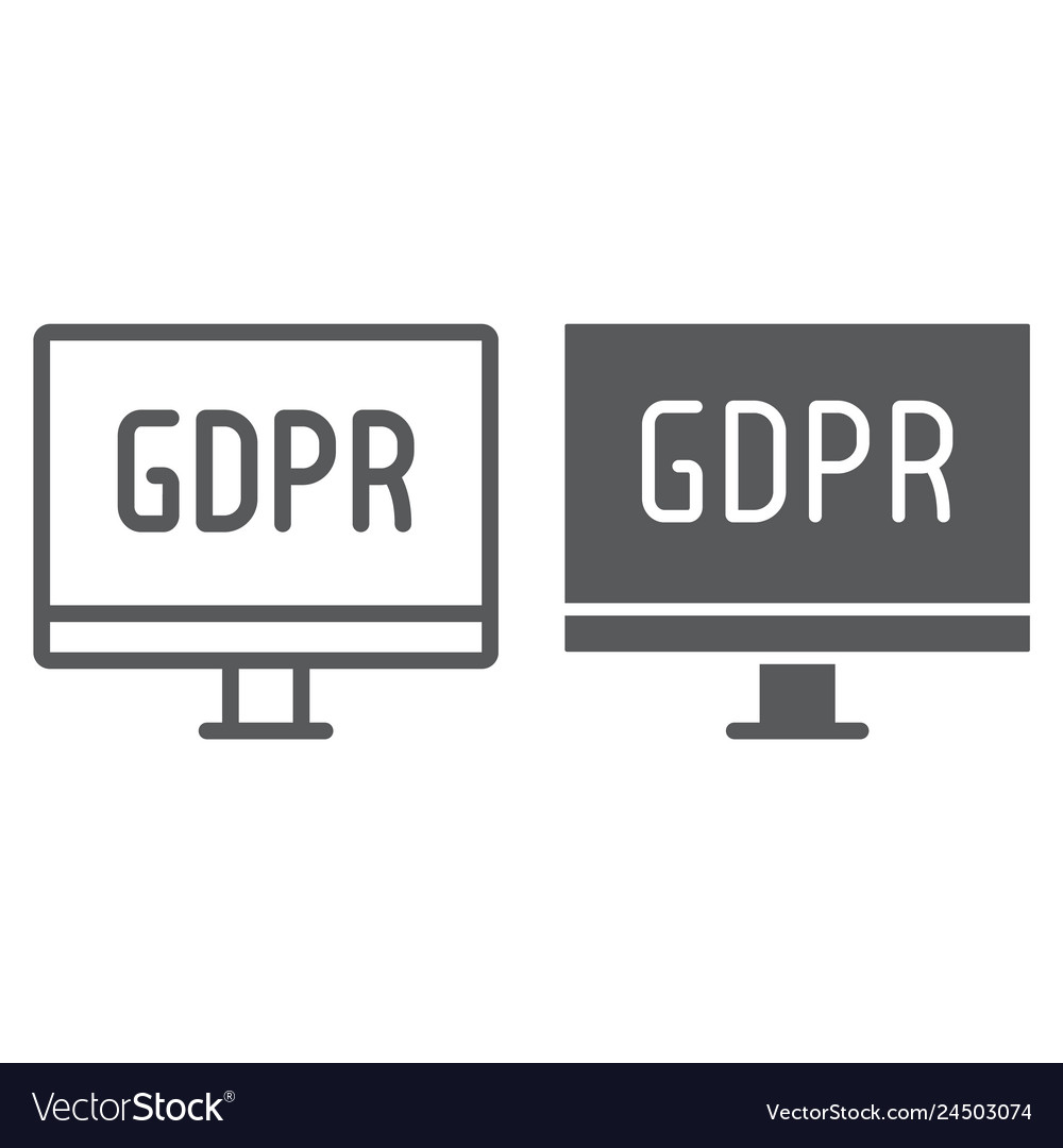 Gdpr monitor line and glyph icon computer and