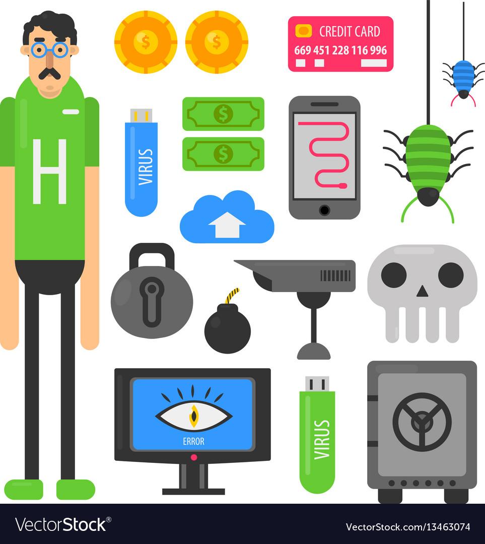 Internet hacker computer phishing malware viruses vector image