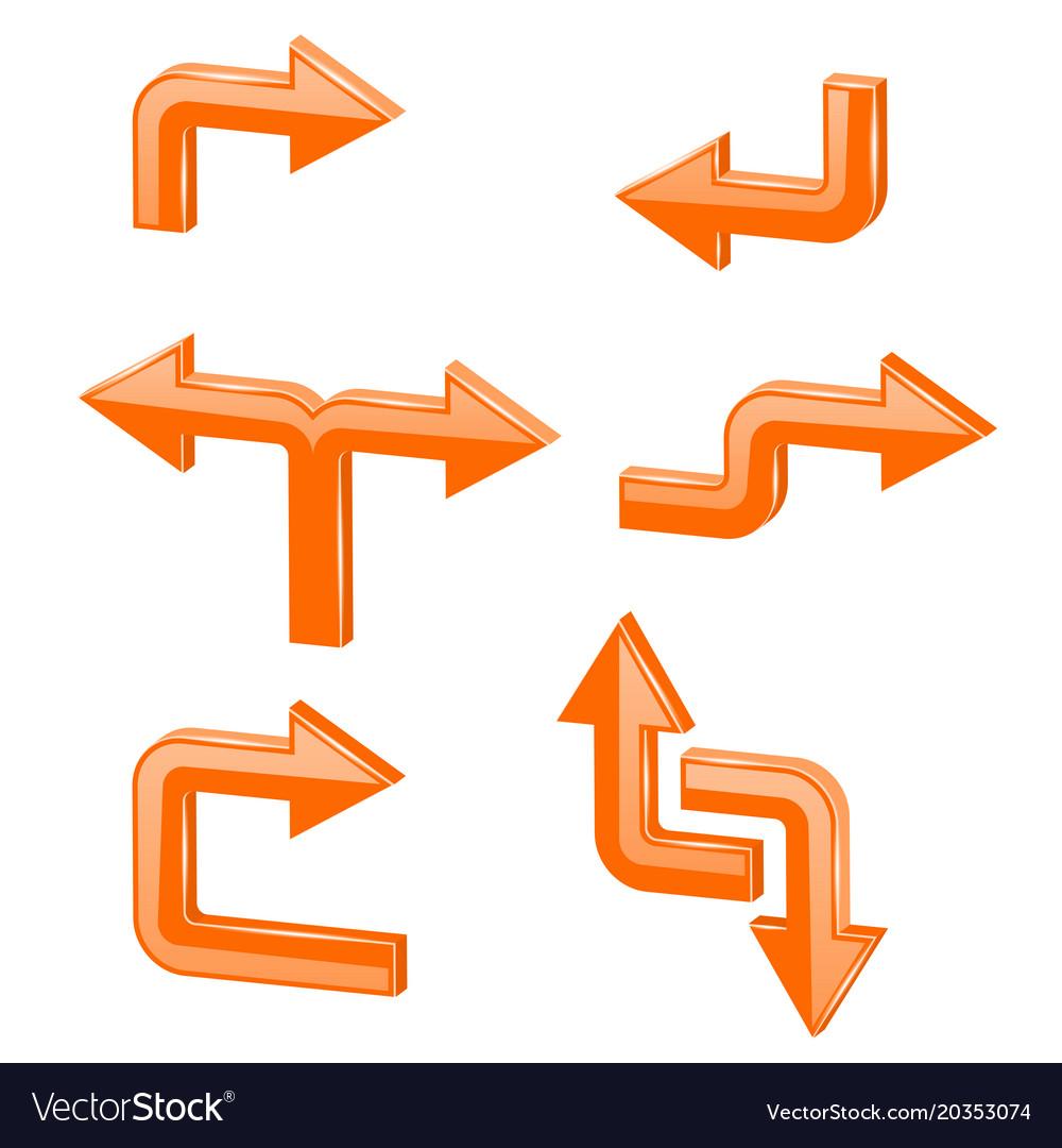 Orange 3d arrows different directions