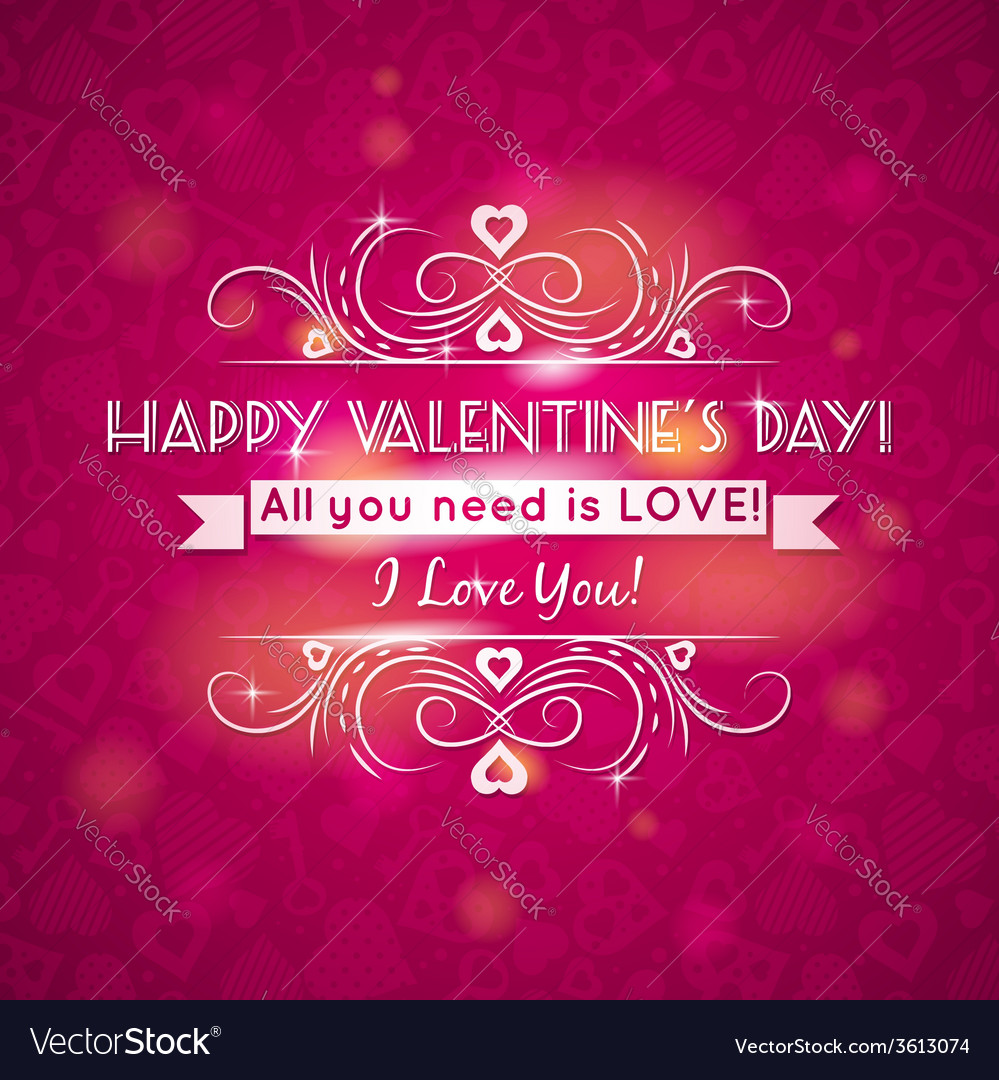 Pink valentines day greeting card with hearts
