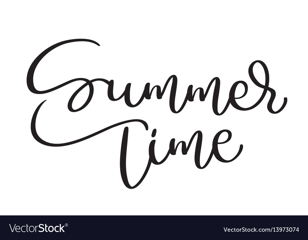 Summer time text on white background hand drawn