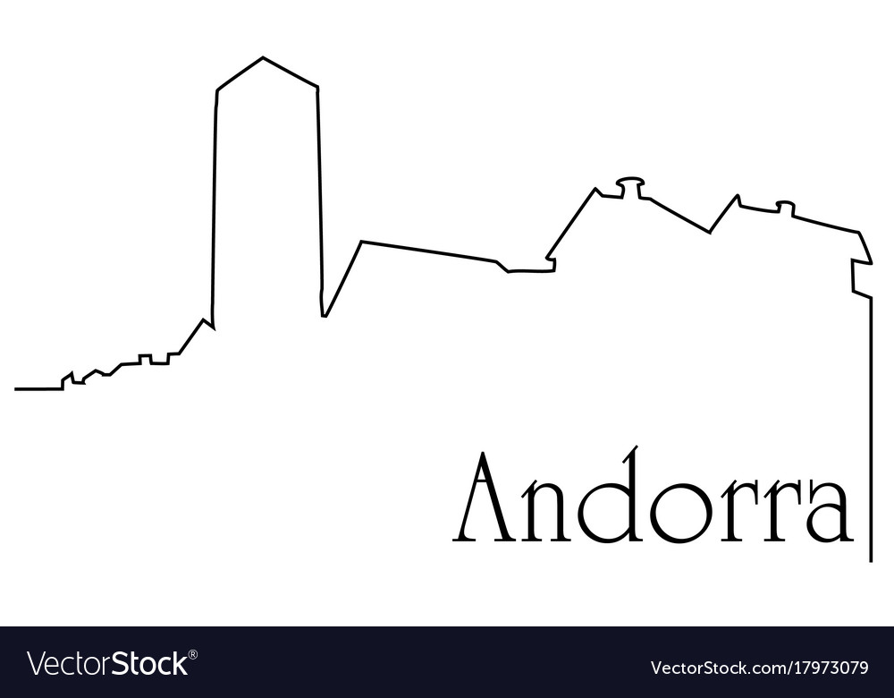 Andorra city one line drawing background