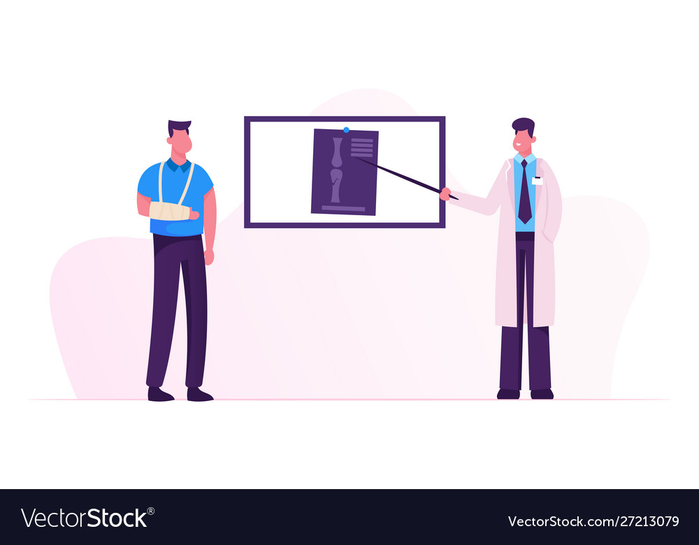 Doctor stand at screen pointing on xray image of