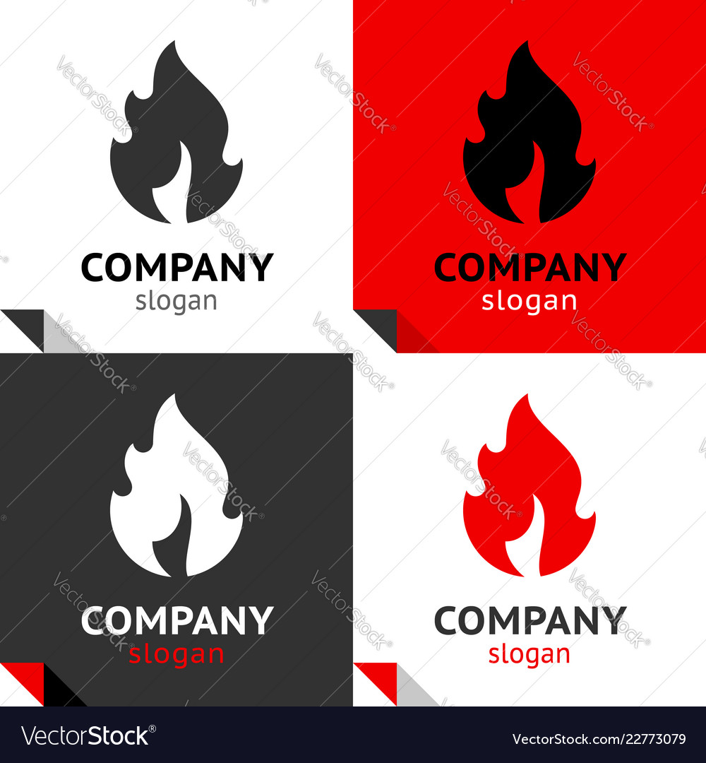 Fire flames new set four variants for your logo
