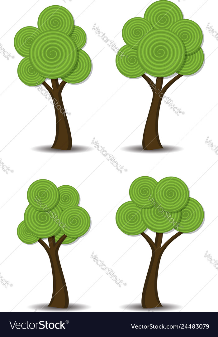 Group of stylized abstract trees