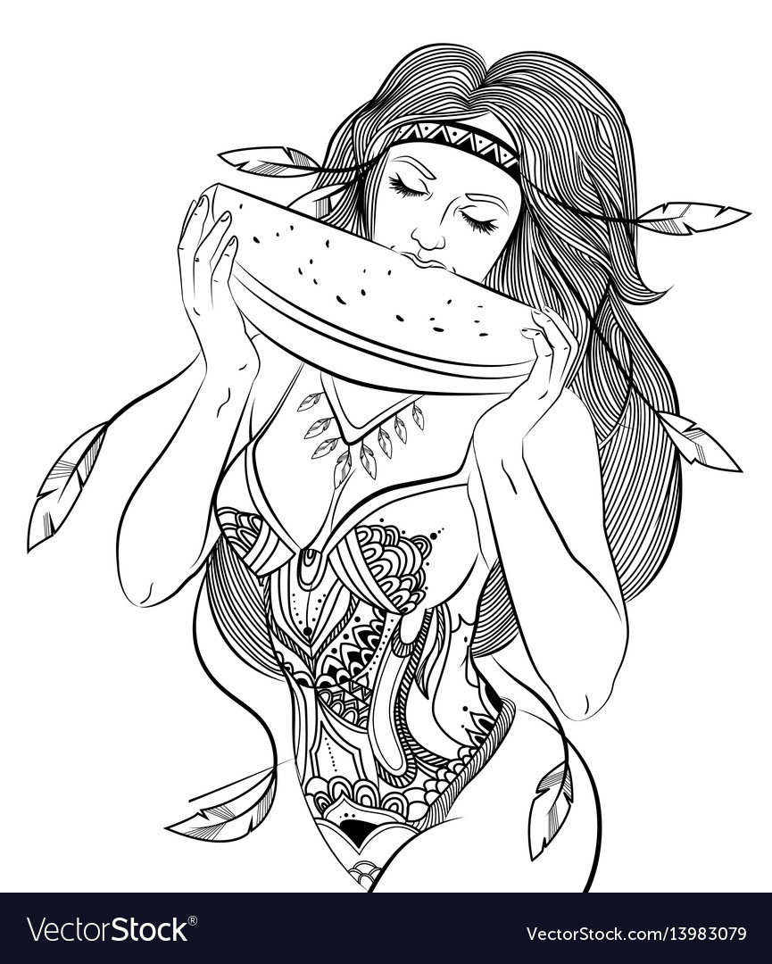 Hand drawn attractive boho girl concept