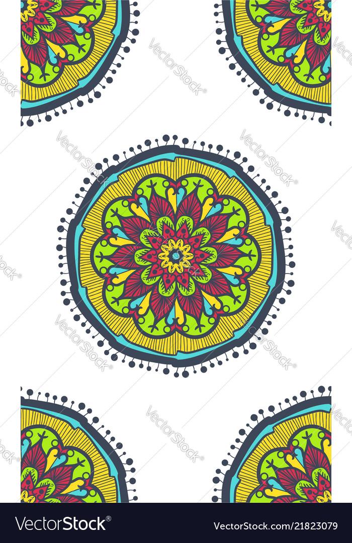 Native bright seamless pattern from boho mandala