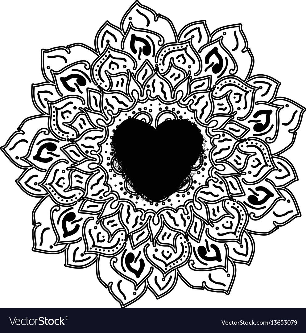 Outline mandala for coloring book decorative