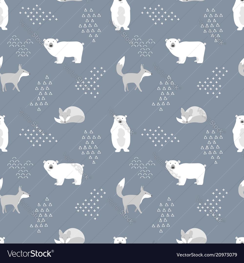 Scandinavian seamless pattern bear and fox