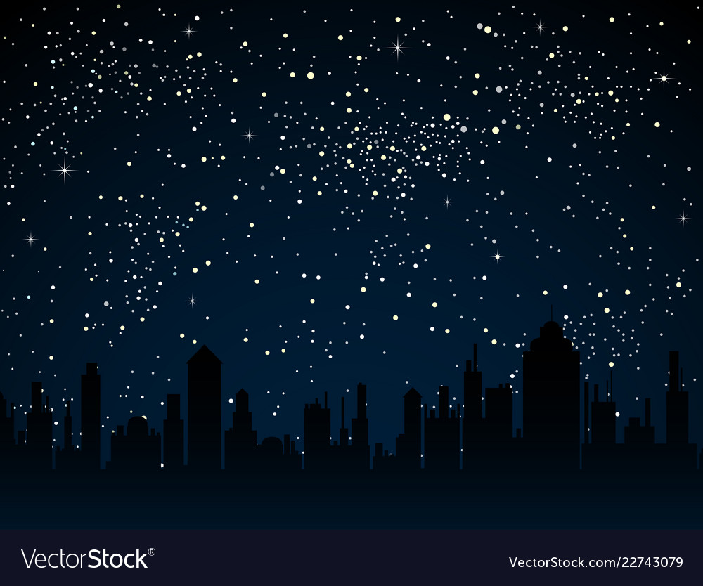 Starry sky with blue glow shining stars dark sky Vector Image