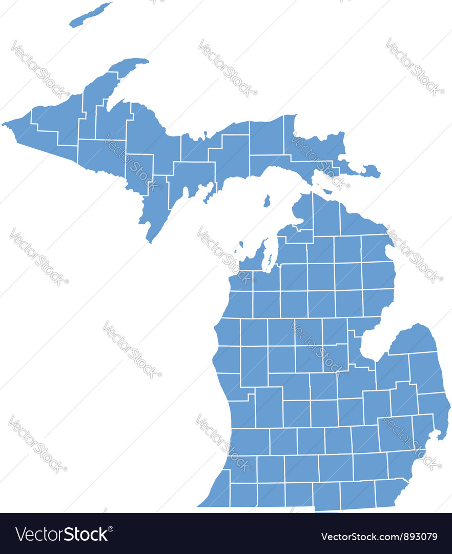 State map of Michigan by counties Royalty Free Vector Image