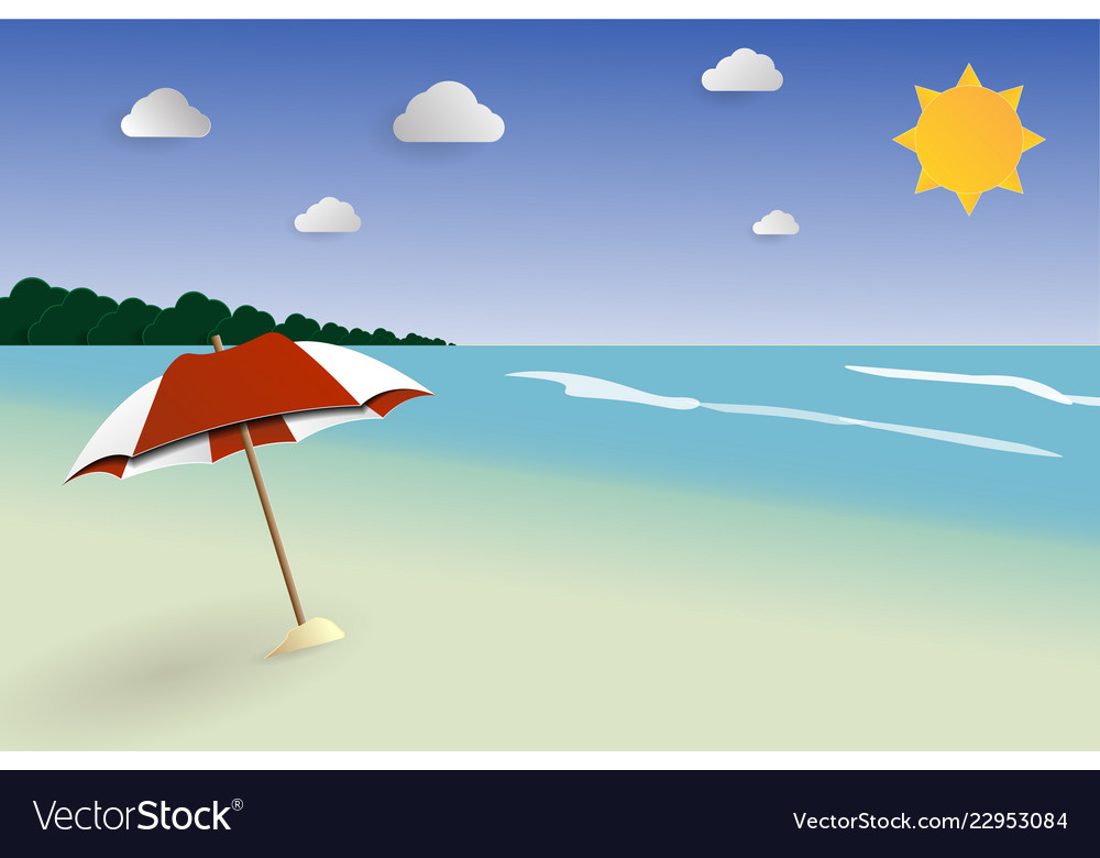 Beach papercut landscape seascape for summer