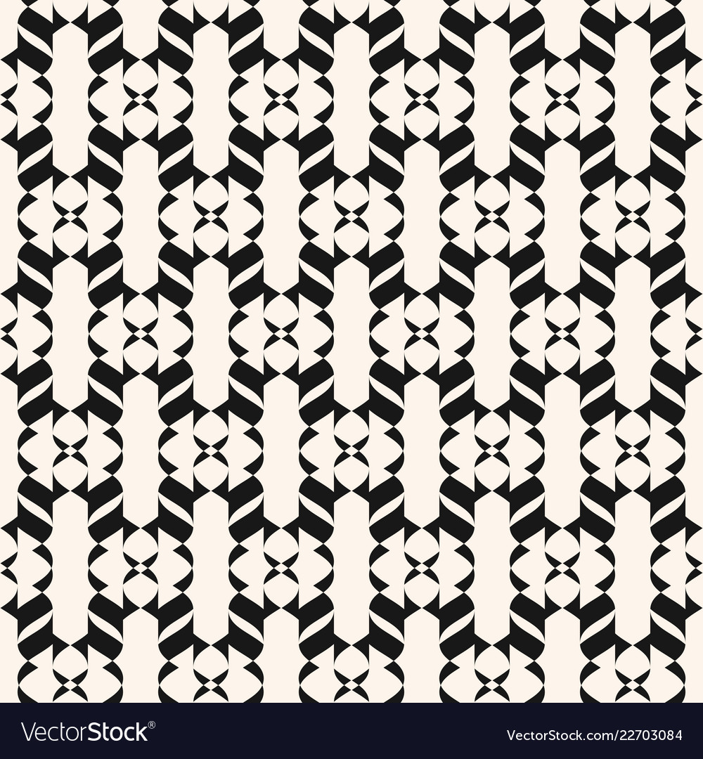 Black and white seamless pattern curved geometric