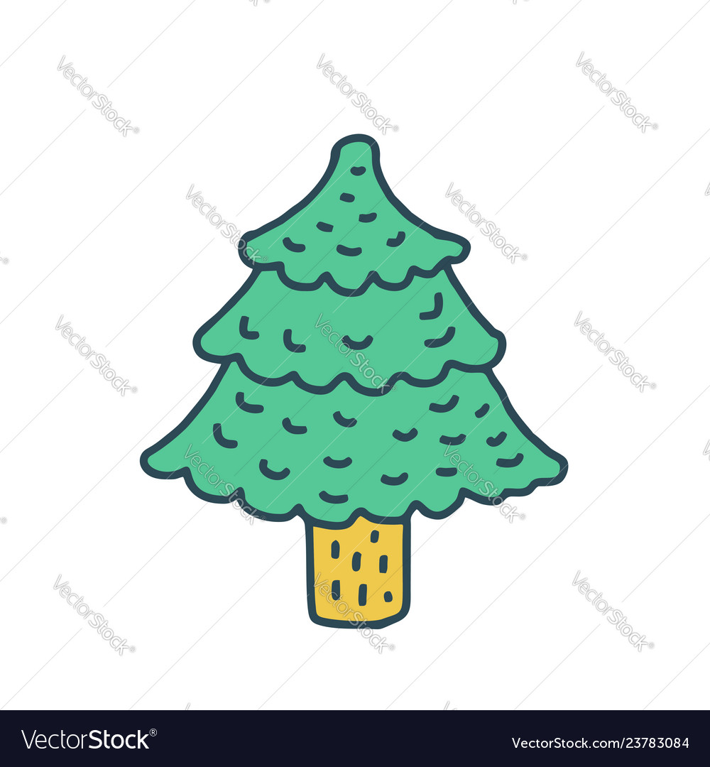 christmas tree drawing isolated fir cartoon style vector image vectorstock