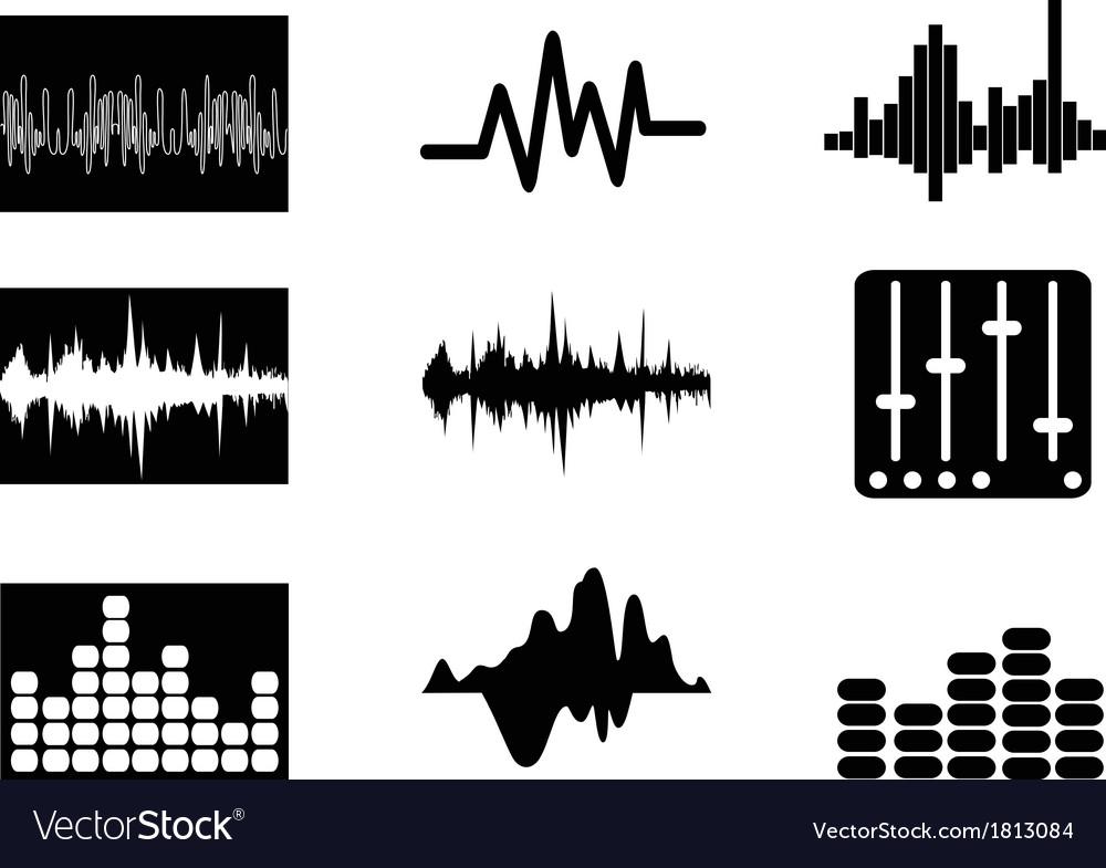 Music soundwave icons set vector image