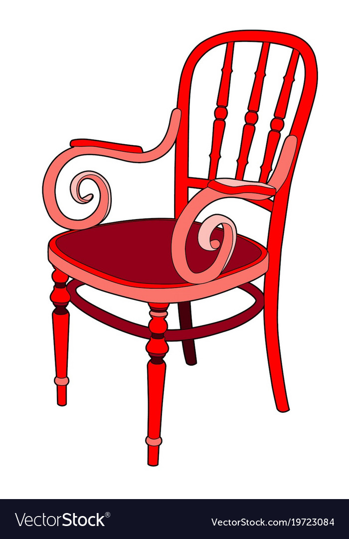 Rattan Chair In Red Royalty Free Vector