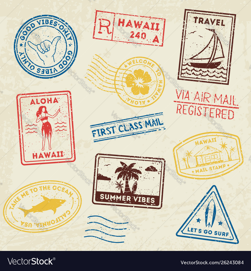 Summer beach post stamps hand drawn palm trees